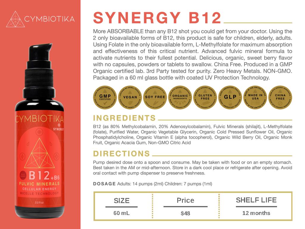 Synergy Vitamin B12 - Cymbiotika Premium Organic Herbal Supplements